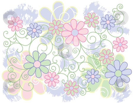 Flowers and Scrolls Background stock vector clipart, Vector design of stylized flowers in pastel colors. by Lisa Fischer