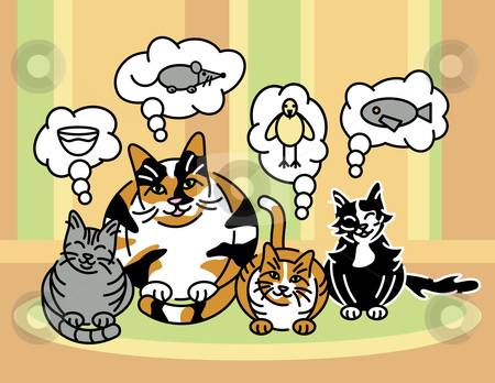 What Cats Think About stock vector clipart, Vector illustration of a calico mom cat and her three kittens thinking. by Lisa Fischer