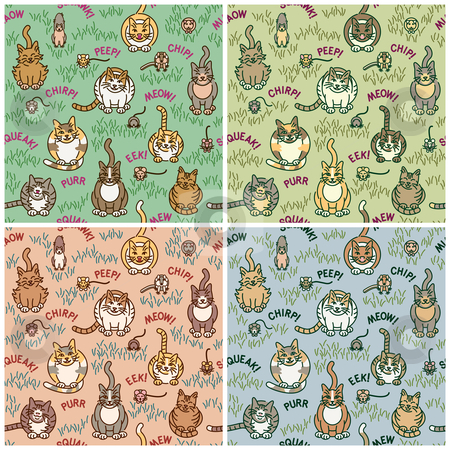 Cats and Critters stock vector clipart, Cute cats and critters seamless pattern in four colorways. Tiles repeat 8 inches. by Lisa Fischer
