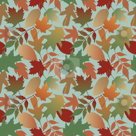 Autumn Leaves Gradient_Blue stock vector clipart, Seamless pattern of Autumn leaves. This is a 4-tile repeat of the pattern. by Lisa Fischer