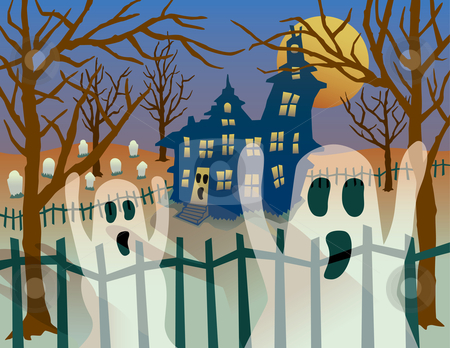 Transparent Ghosts stock vector clipart, A Halloween illustration of transparent ghosts casting scary shadows in front of haunted house. AI8-compatible transparency effects. by Lisa Fischer