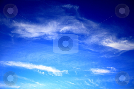Blue sky white clouds stock photo, Blue sky with white clouds on a sunny day. by Henrik Lehnerer