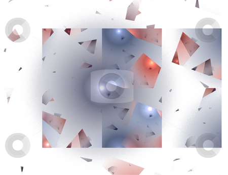 Abstract Shattered Glass Image in Blue and Red stock photo, Abstract Shattered Glass Image in Blue and Red Against a White Background by Chris Green