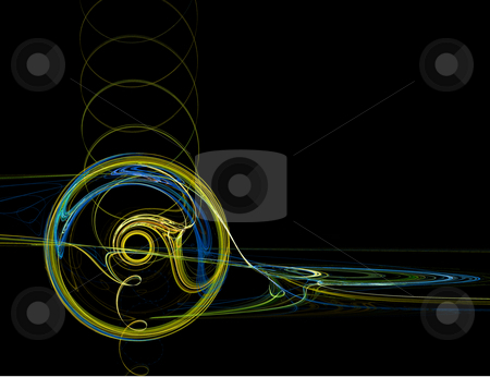 Abstract Green and Blue CD Swirl on Black stock photo, Abstract Green and Blue CD Swirl on Black Background by Chris Green