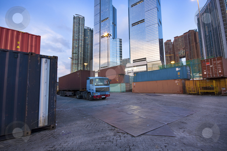 Container site before modern building  stock photo, Container site before modern building in city by Keng po Leung