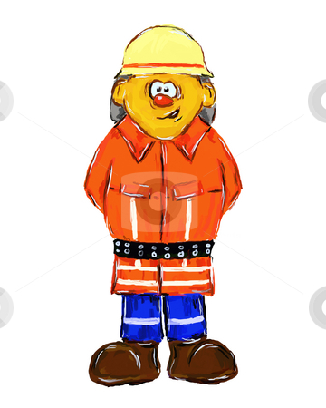 Firefighter stock photo, Painted german firefighter on white background - illustration by J?