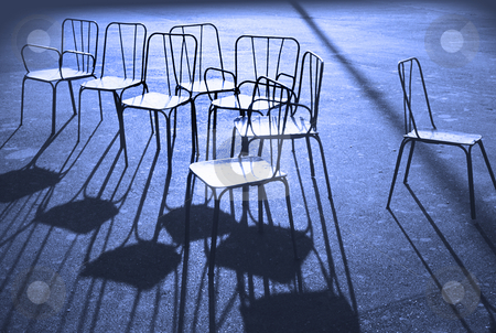 Chairs in blue stock photo, Blue chairs in a midnight Paris park by Christian Delbert