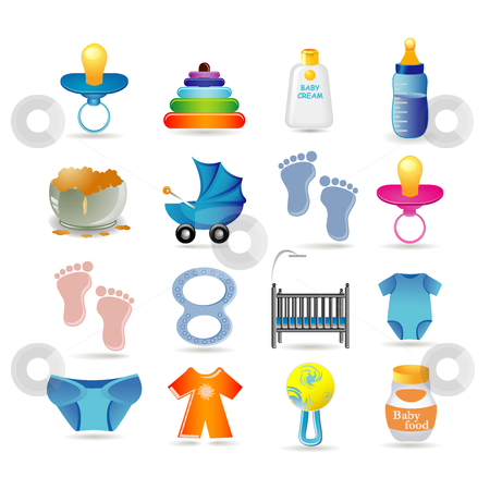Baby icon set stock vector clipart, Baby icon set by Ika