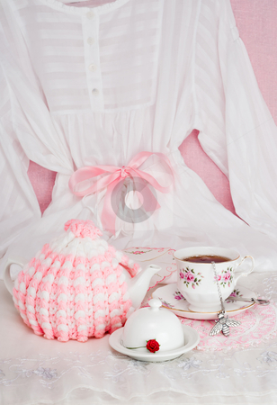 Pink Pajama Party stock photo, Tea in bed for Mother's Day or feminine celebration by Timothy Hodgkinson