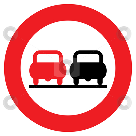 No overtaking sign stock photo, Circular no overtaking sign isolated on white background. by Martin Crowdy