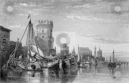 Medieval Cologne stock photo, Engraving of medieval city of Cologne waterfront on river Rhine, Germany. Engraved by William Miller in 1845, public domain image by virtue of age. by Martin Crowdy
