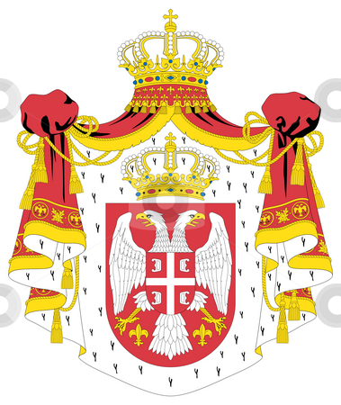 Serbia Coat of Arms stock photo, Serbia coat of arms, seal or national emblem, isolated on white background. by Martin Crowdy
