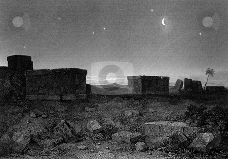 Ancient Greek Sarcopagus stock photo, Ancient Greek Sarcophagus on plains of Plataea or Plataeae at night, Engraved by William Miller in 1829. Public domain image by virtue of age. by Martin Crowdy