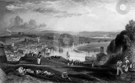 Chatham dockyard stock photo, Chatham Royal Naval dockyard on river Medway, Engraved by William Miller in 1838, public domain image by virtue of age. by Martin Crowdy