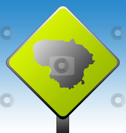 Lithuania road sign stock photo, Black silhouetted map of Lithuania on green diamond shaped road sign with gradient blue sky background. by Martin Crowdy