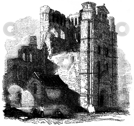 Kelso Abbey stock photo, Engraving of ruins of Kelso Abbey, Scottish Borders, Scotland. Source, 1845 book by Charles Knight,