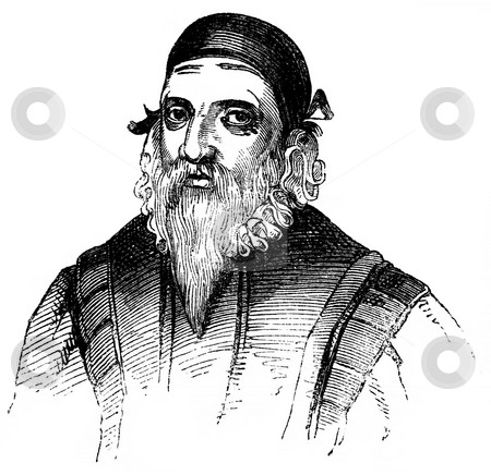 John Dee stock photo, Engraved portrait of John, noted mathematician, astronomer, astrologer and occultist to Queen Elizabeth I. Sourced from book by Charles Knight,