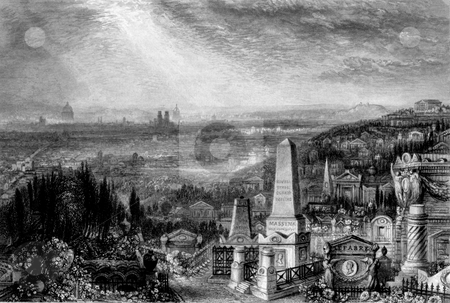 Pere Lachaise Cemetery stock photo, 1836 engraving of Pere Lachaise cemetery in Paris, France. Engraved by William Miller, public domain image by virtue of age. by Martin Crowdy