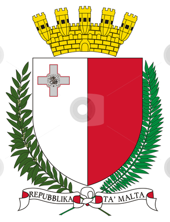 Malta Coat of Arms stock photo, Malta coat of arms, seal or national emblem, isolated on white background. by Martin Crowdy