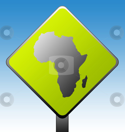 Africa road sign stock photo, Silhouetted African map on diamond shaped green road sign with gradient blue sky background. by Martin Crowdy