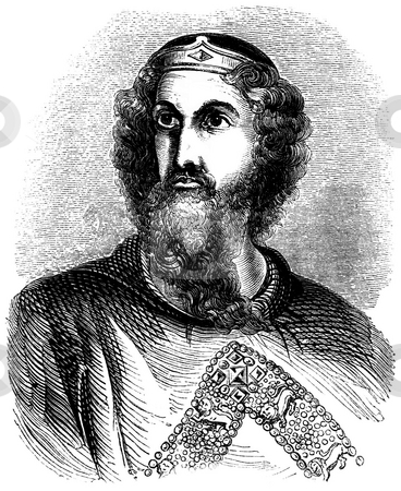 King Edward I stock photo, Engraved portrait of King Edward I of England with white background. Sourced from 1845 book by Charles Knight,