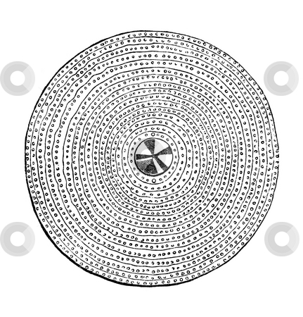 Celtic shield stock photo, Illustration of circular Celtic shield isolated on white background. Sourced from book by Charles Knight,