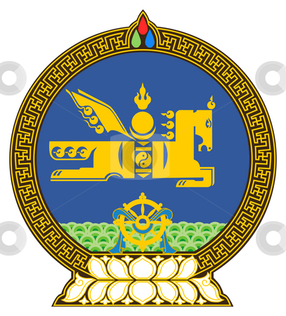Mongolia Coat of Arms stock photo, Mongolia coat of arms, seal or national emblem, isolated on white background. by Martin Crowdy