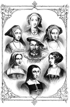 Henry VIII and Six wives stock photo, King Henry VIII and six wives in old frame. Sourced from book by William Hickman Smith Aubrey,