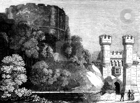 Cliffords Tower and York Castle stock photo, Engraving of Cliffords Tower with York Castle in background, England. Sourced from book by Charles Knight,
