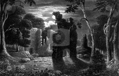Lochmaben Castle stock photo, Exterior of Lochmaben Palace in woodland under moonlight, Dumfries and Galloway, Scotland. Engraved by William Miller in 1830, public domain image by virtue of age. by Martin Crowdy