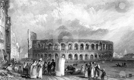Verona Amphitheatre stock photo, Engraving of Amphitheatre in Verona during renaissance, Italy, Engraved by William Miller in 1836, public domain image by virtue of age. by Martin Crowdy