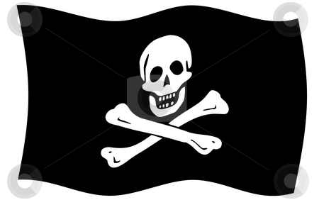 Jolly Roger flag stock photo, Illustration of jolly roger or skull and cross bones pirate flag. by Martin Crowdy