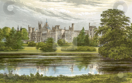 Alton Towers Castle stock photo, Watercolor painting of Alton Towers Castle, Staffordshire, England. Souce, published by Morris, F. O. in book  by Martin Crowdy