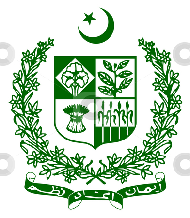 Pakistan Coat of Arms stock photo, Pakistan coat of arms, seal or national emblem, isolated on white background. by Martin Crowdy