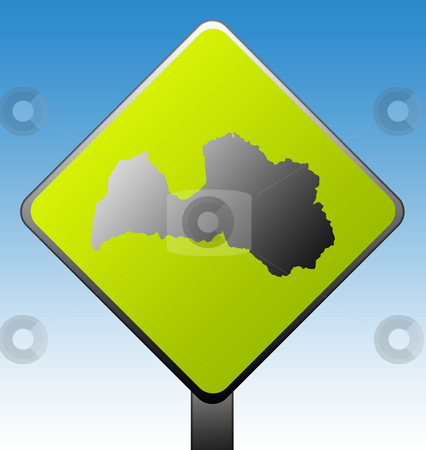 Latvia road sign stock photo, Black silhouetted map of Latvia on green diamond shaped road sign with gradient blue sky background. by Martin Crowdy