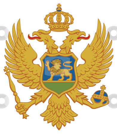 Montenegro Coat Arms stock photo, Montenegro coat of arms, seal or national emblem, isolated on white background. by Martin Crowdy