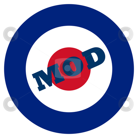 Mod target stock photo, Mod target sign, isolated on a white background. by Martin Crowdy
