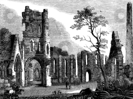 Ruins of Kildare Cathedral stock photo, Engravement of ruins of Kildare cathedral, Country Kildare, Republic of Ireland. Soucred from book by Charles Knight,