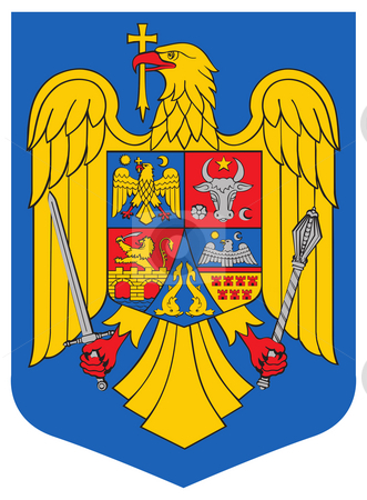 Romania Coat of Arms stock photo, Romania coat of arms, seal or national emblem, isolated on white background. by Martin Crowdy