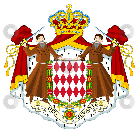 Monaco Coat of Arms stock photo, Monaco coat of arms, seal or national emblem, isolated on white background. by Martin Crowdy