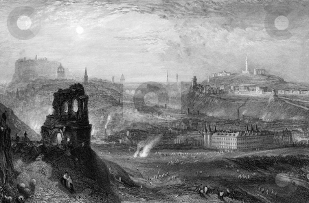 Edinburgh City Skyline stock photo, Engraving of Edinburgh city skyline seem from Saint Anthony's chape, Scotland. Engraved by William Miller in 1838, public domain image by virtue of age. by Martin Crowdy