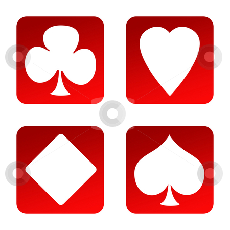Gambling icons stock photo, Set of four playing card suits gambling icons, isolated on white background. by Martin Crowdy