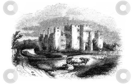 Hever Castle stock photo, Engraving of Hever Castle, Kent, England. This was the anestral home of Anne Boleyn during the 1500's. Soured from book by Charles Knight in 1845,  by Martin Crowdy