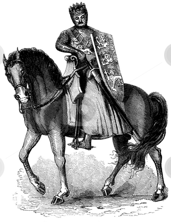 King Edward I of England stock photo, Engraving of King Edward I of England mounted on horse with chain mail armor. Sourced from book by Charles Kight,