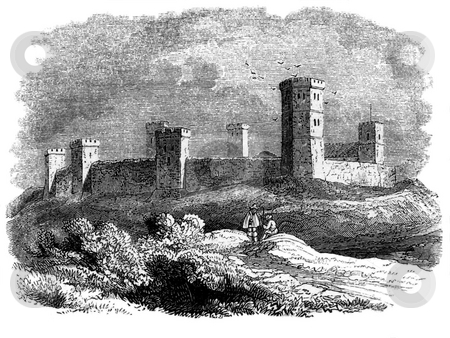 Oxford Castle stock photo, Engraving of Oxford castle pictured in 15th century, Oxfordshire, England. Sourced from book by Charles Knight,