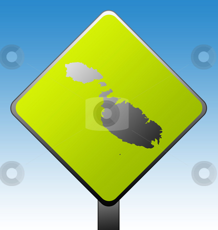 road sign stock photo, Black silhouetted map of on green diamond shaped road sign with gradient blue sky background. by Martin Crowdy
