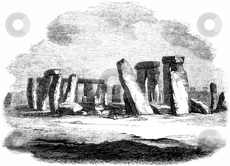 Stonehenge stock photo, Vintage engraving of Stonehenge with white background. Sourced from book by Charles Knight,