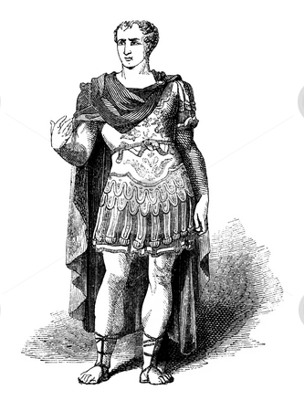 Julius Caesar stock photo, Engraving of Roman Emperor Julius Caesar isolated on white background. Source, book by Charles Knight,