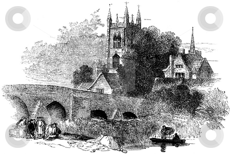 Eversham Bridge over River Avon stock photo, Engraving of Everham Village bridge over River Avon with church in background, Worcestershire, England. Source 1845 book by Charles Knight,  by Martin Crowdy
