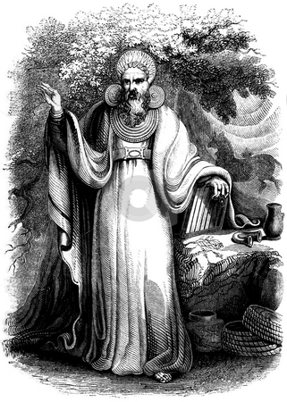 Arch druid stock photo, Iron age celtic arch druid in forest, Black and white engraving souced from book by Charles Knight,